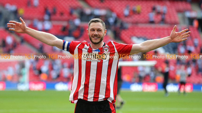 Brentford's Henrik Dalsgaard celebrates promotion to the Premier League during Brentford vs Swansea City, Sky Bet EFL Championship Play-Off Final Football at Wembley Stadium on 29th May 2021