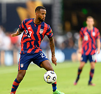 AUSTIN, TX - JULY 29: Kellyn Acosta #23 of the United States gains control of a loose ball during a game between Qatar and USMNT at Q2 Stadium on July 29, 2021 in Austin, Texas.