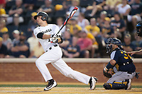 Bruce Steel (17) of the Wake Forest Demon Deacons watches the flight of his 2-run home run against the West Virginia Mountaineers in Game Four of the Winston-Salem Regional in the 2017 College World Series at David F. Couch Ballpark on June 3, 2017 in Winston-Salem, North Carolina.  The Demon Deacons walked-off the Mountaineers 4-3.  (Brian Westerholt/Four Seam Images)
