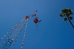 A bungee jumper prepares to jump from the tower.
