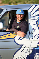 Myrtle Beach Pelicans trainer Jeff Bodenhamer sitting in the Pelicans van before a game against the Frederick Keys at Tickerreturn.com Field at Pelicans Ballpark on April 25, 2012 in Myrtle Beach, South Carolina. Myrtle Beach defeated Frederick by the score of 3-1. (Robert Gurganus/Four Seam Images)