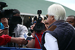 May 31, 2015 Bob Baffert being interviewed. American Pharoah (ridden by Georgie Alvarez) galloped on a rainy, overcast day at Churchill Downs during a special workout period for Belmont Stakes horses.  He flies to New York on June 2.  ©Mary M. Meek/ESW/CSM