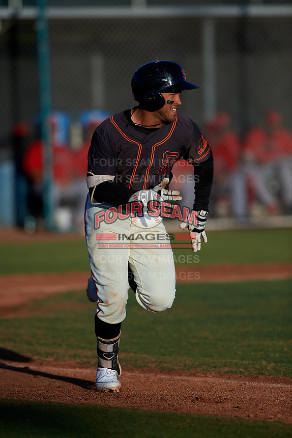 AZL Giants Black Jose Rivero (2) runs to first base during an Arizona League game against the AZL Angels at the Giants Baseball Complex on June 21, 2019 in Scottsdale, Arizona. AZL Angels defeated AZL Giants Black 6-3. (Zachary Lucy/Four Seam Images)