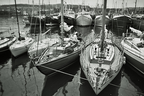 Some of the ISORA fleet in Howth after a cross-channel race in 1980, with the fleet including (at centre) Dai Mouse III (now Sunstone) and the McGruer yawl Frenesi, as well as the first Round Ireland Race winner Force Tension (Johnny Morris) on right. Despite the primitive facilities at most ports, more than a hundred boats regularly entered the ISORA Championship each season. Photo: W M Nixon