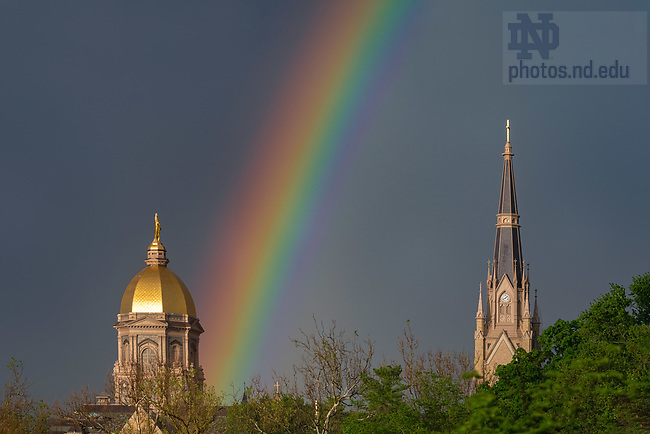 May 28, 2020; Rainbow behind the Main Building and Basilica (Photo by Matt Cashore/University of Notre Dame)