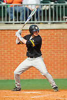 Rob Malan (12) of the Virginia Commonwealth Rams at bat against the Charlotte 49ers at Robert and Mariam Hayes Stadium on March 30, 2013 in Charlotte, North Carolina.  The 49ers defeated the Rams 9-8 in game one of a double-header.  (Brian Westerholt/Four Seam Images)