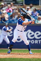 Wilmington Blue Rocks right fielder Roman Collins (34) at bat during the first game of a doubleheader against the Frederick Keys on May 14, 2017 at Daniel S. Frawley Stadium in Wilmington, Delaware.  Wilmington defeated Frederick 10-2.  (Mike Janes/Four Seam Images)