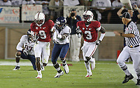STANFORD, CA - November 6, 2010: Richard Sherman rushes for 15 yards after an interception during a 42-17 Stanford win over the University of Arizona, in Stanford, California.