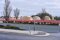 Landover, MD - March 24, 2020: Members of the Maryland National Guard and health providers set up health screening tents in a parking lot of FedEx Field in Landover, MD  in response to the Covid-19 pandemic, March 24, 2020. The site is not available for drive up screenings.  (Photo by Don Baxter/Media Images International)