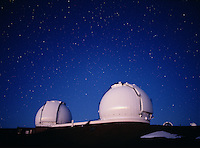 Keck Telescopes in twilight, Mauna Kea Observatory, Hawaii