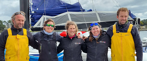 Still talking to each other after some very intensive offshore experiences with Leyton are (left to right) Team Manager Aymeric Chappellier, Pamela Lee (Ireland), Cassandra Blandin (France), Kass Schmitt (USA) and Team Captain Sam Goodchild.