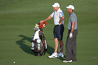 PONTE VEDRA BEACH, FL - MAY 5: Tiger Woods and caddie Steve Williams wait for the green to clear before Tiger hits his 2nd shot on the par 4 4th hole during his practice round on Tuesday, May 5, 2009 for the Players Championship, beginning on Thursday, at TPC Sawgrass in Ponte Vedra Beach, Florida.   After hitting a 3 wood to this point, Tiger holed out from the fairway for an eagle.