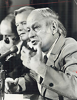 We will always be neighbors, Quebec Premier Rene Levesque tells reporters yesterday after day-long meeting with Premier William Davis (rear). Successful attempts to solve disputes between the provinces mean their relations will be good whatever future will be.<br /> <br /> PHOTO :  Jeff Goode - Toronto Star Archives - AQP