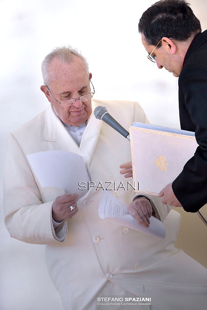 "Pope Francis   for the 60th anniversary of the ""Comunione e Liberazione"" (Communion and Liberation) catholic mouvement in St Peter's square at the Vatican. on March 7, 2015"