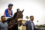 JULY 24, 2021: Madone  and Juan Hernandez after the San Clemente Stakes at the Del Mar Fairgrounds in Del Mar, California on July 24, 2021. Evers/Eclipse Sportswire/CSM