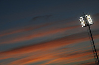 A floodlight at sunset in the Loftus Versfeld Stadium. Italy defeated USA 3-1 during the FIFA Confederations Cup at Loftus Versfeld Stadium, in Tshwane/Pretoria South Africa on June 15, 2009.
