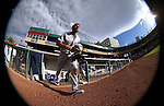 Oklahoma City Dodgers' Rob Segedin takes the field between innings at Greater Nevada Field in Reno, Nev., on Sunday, July 17, 2016.<br />