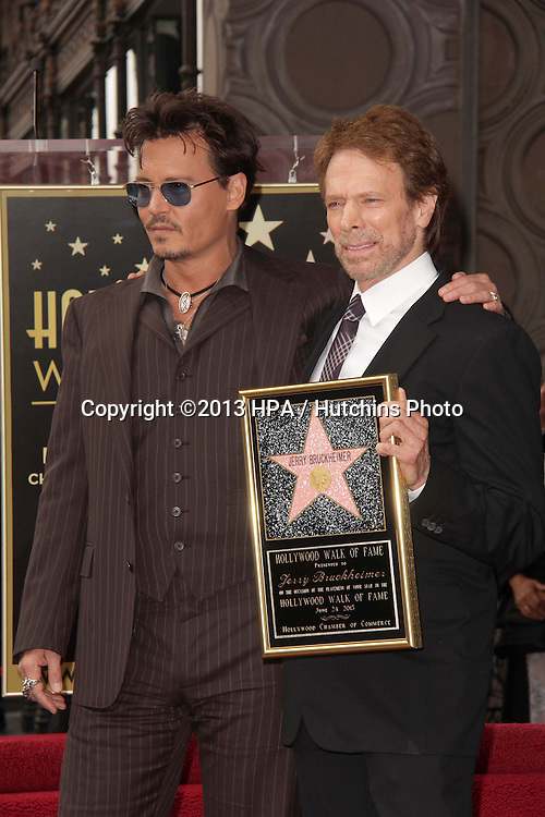LOS ANGELES - JUN 24:  Johnny Depp, Jerry Bruckheimer at  the Jerry Bruckheimer Star on the Hollywood Walk of Fame  at the El Capitan Theater on June 24, 2013 in Los Angeles, CA