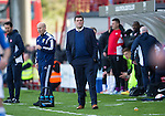 Hamilton Academical St Johnstone....04.04.15<br /> Tommy Wright watches from the touchline<br /> Picture by Graeme Hart.<br /> Copyright Perthshire Picture Agency<br /> Tel: 01738 623350  Mobile: 07990 594431