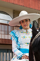 Portrait of woman wearing sombrero Hat, Kent Cornucopia Days, Kent, Washington State, WA, USA.