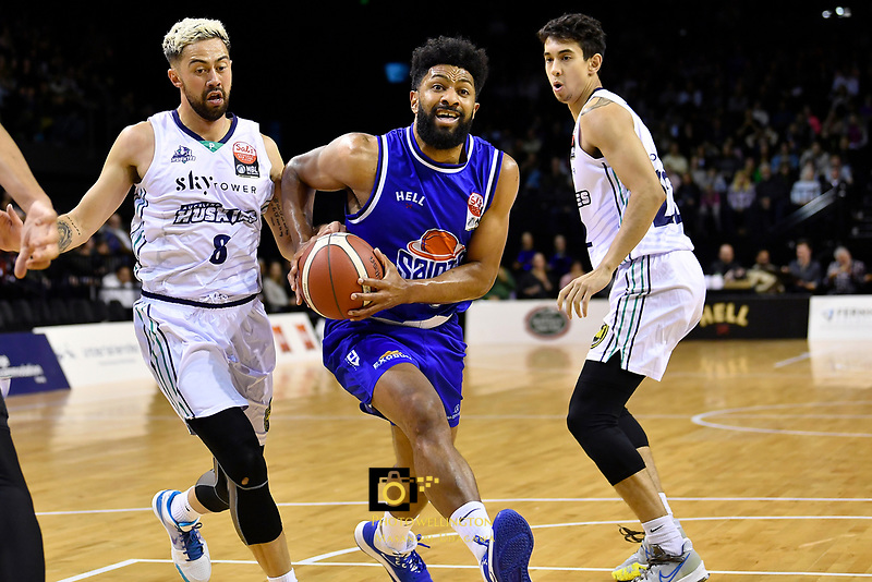 Dion Prewster of the Wellington Saints drives to the basket during the NBL match between the Wellington Saints and the Auckland Huskies at TSB Bank Arena, Wellington, New Zealand on Friday 28 May 2021.<br /> Photo by Masanori Udagawa. <br /> www.photowellington.photoshelter.com