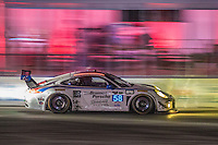 Night  action, #58 Porsche,  Jan Heylen, Milo Valverde, Madison Snow 12 Hours of Sebring, Sebring International Raceway, Sebring, FL, March 2015.  (Photo by Brian Cleary/ www.bcpix.com )