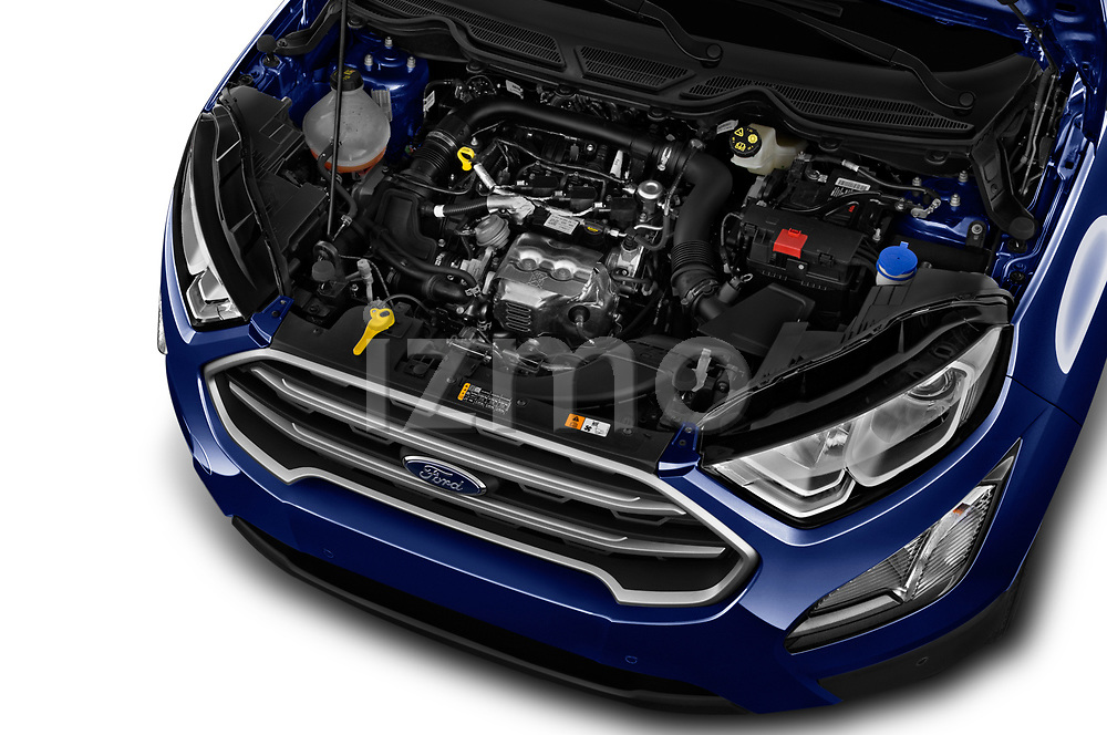 Car stock 2018 Ford Ecosport Business Class 5 Door SUV engine high angle detail view