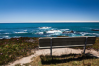 A bench, perched on a bluff with an expansive view of the Pacific Ocean under a clear blue sky at Bean Hollow State Beach on the California coast.