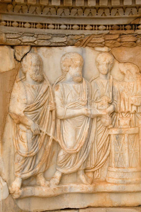 Sabratha, Libya - Marble carvings, Roman theater.