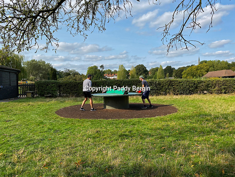 Outdoor Table Tennis, Hampstead Heath, Highgate Road<br /> <br /> Stock Photo by Paddy Bergin