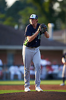 Vermont Lake Monsters starting pitcher A.J. Puk (45) gets ready to delver a pitch during the second inning of his professional debut against the Auburn Doubledays on July 12, 2016 at Falcon Park in Auburn, New York.  Auburn defeated Vermont 3-1.  (Mike Janes/Four Seam Images)