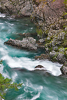 Closeup of White water on Elk River. Elk River Wild and Scenic River, Curry County, Oregon