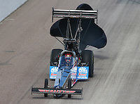 Feb 22, 2015; Chandler, AZ, USA; NHRA top fuel driver J.R. Todd during the Carquest Nationals at Wild Horse Pass Motorsports Park. Mandatory Credit: Mark J. Rebilas-