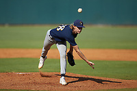 Coleman Willis (38) of Houston County HS in Warner Robins, GA playing for the Milwaukee Brewers scout team in action during the East Coast Pro Showcase at the Hoover Met Complex on August 5, 2020 in Hoover, AL. (Brian Westerholt/Four Seam Images)