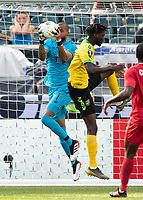 PHILADELPHIA, PA - JUNE 30: Luis Mejia #1 makes a save against Michael Hector #3 during a game between Panama and Jamaica at Lincoln Financial Field on June 30, 2019 in Philadelphia, Pennsylvania.