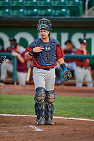 Chase Vallot (44) of the Idaho Falls Chukars during a game against the Ogden Raptors at Lindquist Field on August 29, 2018 in Ogden, Utah. Idaho Falls defeated Ogden 15-6. (Stephen Smith/Four Seam Images)