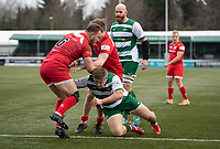 Max Argyle of Jersey Reds is tackled by George Davis of Ealing Trailfinders during the Championship Cup Quarter final match between Ealing Trailfinders and Jersey Reds at Castle Bar , West Ealing , England  on 22 February 2020. Photo by Alan  Stanford / PRiME Media Images.