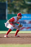 Williamsport Crosscutters third baseman Jesus Henriquez (4) during a game against the Batavia Muckdogs on June 21, 2018 at Dwyer Stadium in Batavia, New York.  Batavia defeated Williamsport 6-5.  (Mike Janes/Four Seam Images)