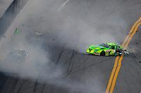 Feb 7, 2009; Daytona Beach, FL, USA; ARCA RE/MAX Series driver Patrick Sheltra (60) is hit by Larry Hollenbeck (23) during the Lucas Oil Slick Mist 200 at Daytona International Speedway. Mandatory Credit: Mark J. Rebilas-