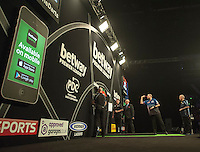 09.04.2015. Sheffield, England. Betway Premier League Darts. Matchday 10.  Raymond van Barneveld [NED] prepares to throw in his match with Phil Taylor [ENG].