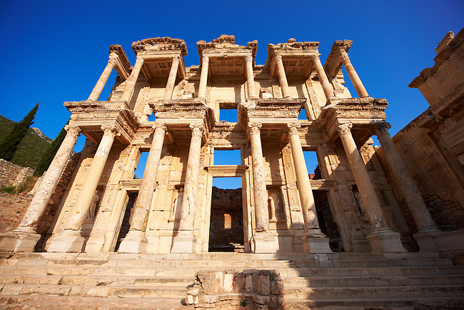 Picture of The library of Celsus. Images of the Roman ruins of Ephasus, Turkey. Stock Picture & Photo art prints 4