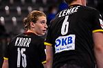 Juri Knorr (Deutschland #15) ; Finn Lemke (Deutschland #6) ; EHF EURO-Qualifikation / EM-Qualifikation / Handball-Laenderspiel: Deutschland - Estland am 02.05.2021 in Stuttgart (PORSCHE Arena), Baden-Wuerttemberg, Deutschland.<br /> <br /> Foto © PIX-Sportfotos *** Foto ist honorarpflichtig! *** Auf Anfrage in hoeherer Qualitaet/Aufloesung. Belegexemplar erbeten. Veroeffentlichung ausschliesslich fuer journalistisch-publizistische Zwecke. For editorial use only.