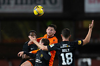 2nd October 2020; Tannadice Park, Dundee, Scotland; Scottish Premiership Football, Dundee United versus Livingston; Calum Butcher of Dundee United competes in the air with Scott Pittman of Livingston
