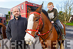 Paddy Enright on his horse, Pikachu with Padraig Enright (Mountcollins) at the Abbeydorney Harriers Hunt on Sunday.