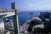 Salvador, Bahia, Brazil. The Elevador Lacerda elevator which connects the Cidade Alta and the Cidade Baixa, and the port.