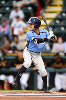 Charlotte Stone Crabs shortstop Andrew Velazquez (1) at bat during a game against the Bradenton Marauders on April 20, 2015 at McKechnie Field in Bradenton, Florida.  Charlotte defeated Bradenton 6-2.  (Mike Janes/Four Seam Images)