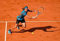 Paris, France, 2 june, 2019, Tennis, French Open, Roland Garros, Stefanos Tsitsipas (GRE) in action against Wawrinka (SUI)<br /> Photo: Henk Koster/tennisimages.com