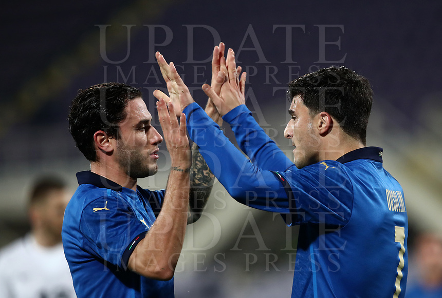 FBL- Friendly  football match Italy vs Estonia at the Artemio Franchi stadium in Florence on November 11, 2020.<br /> Italy's Riccardo Orsolini (r) celebrates after scoring with his teammate Davide Calabria (l) during the friendly football match between Italy snd Estonia at the Artemio Franchi stadium in Florence on November 11, 2020. <br /> UPDATE IMAGES PRESS/Isabella Bonotto