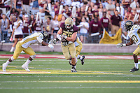 Texas State tight end Ryan Carden (84) rushes past Arkansas Pine-Bluff's defender during first half of NCAA Football game, Saturday, August 30, 2014 in San Marcos, Tex. Texas State leads Arkansas Pine-Bluff 42-0 at the halftime. (Mo Khursheed/TFV Media via AP Images)
