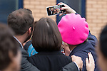 © Joel Goodman - 07973 332324 . 10/06/2016 . Manchester , UK . Comedian EDDIE IZZARD posing for selfies with activists in Hulme , Manchester , in support of the Remain campaign , ahead of the UK's EU Referendum . Photo credit : Joel Goodman